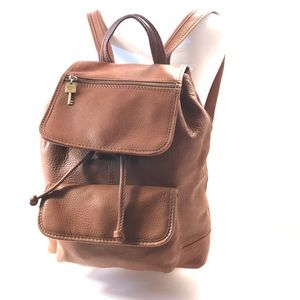 Fossil Chestnut Leather Buckle Strap Backpack